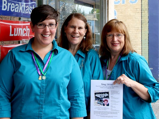 From left, Elaine Rosenberg, Judy Gobat, and Janet Owen are singers in the Oregon Spirit Chorus, which is looking for new members.