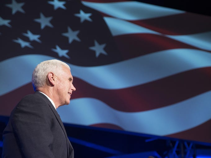 Mesa residents watch Indiana Gov. Mike Pence, the 2016