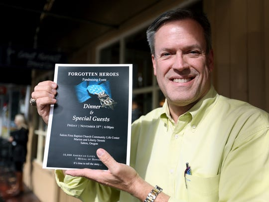 Jim Huggins, invites people to attend the Forgotten Heroes fundraising event, about an Army dog handler who earned a Medal of Honor, at First Baptist Church on Nov. 18.