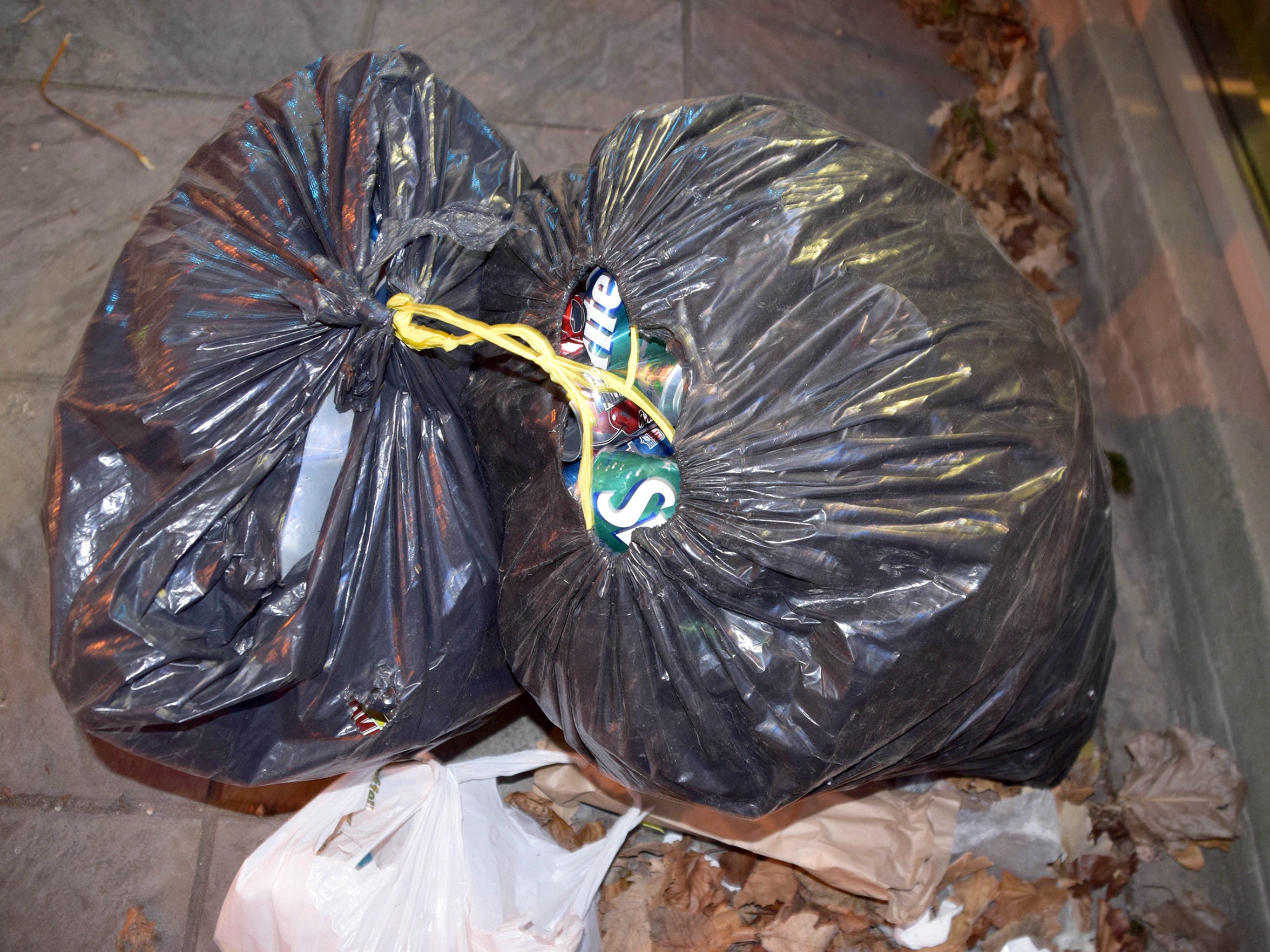 Two bags of aluminum cans lay among the possessions