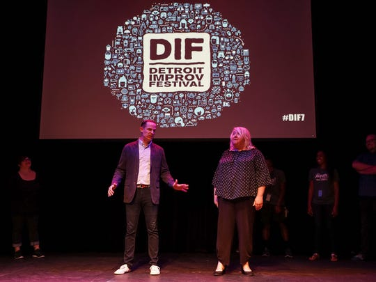 Marc Evan Jackson, center left, and Jaime Moyer perform during a Detroit Creativity Project fundraiser at the Marlene Boll Theatre of Boll Family YMCA in downtown Detroit, Wednesday, August 9, 2017.