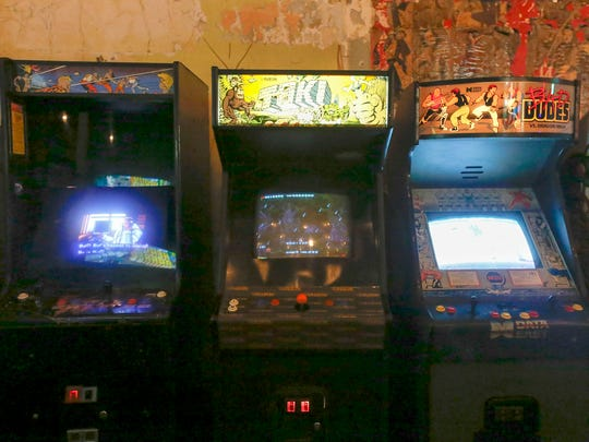 Video arcade games and pinball machines, at 25 cents each, line walls at Pop+Offworld Arcade on Friday, September 15, 2017 in Detroit. Pop+Offworld Arcade is the first of three planned video arcade bars opening in the downtown and midtown area in Detroit.