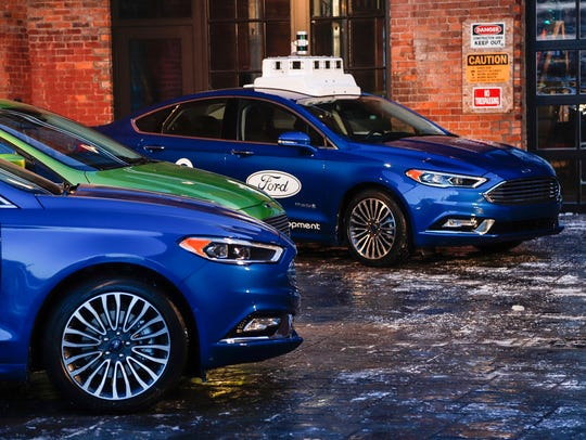 Ford vehicles are on display at a historic building in Corktown known as the Factory on Dec. 14, 2017.