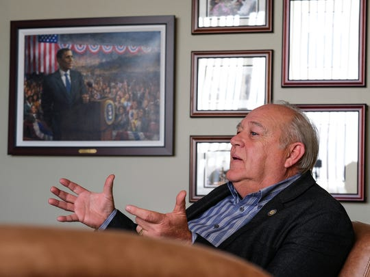 UAW President Dennis Williams speaks with the Detroit