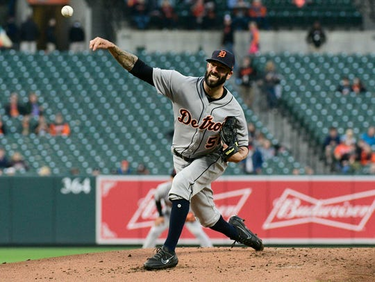 Tigers pitcher Mike Fiers (50) pitches during the first