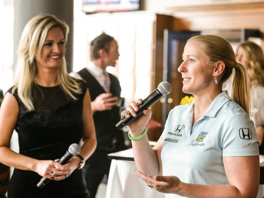 IndyCar driver Pippa Mann attends the fifth annual 500 Prelude, benefiting the Survivors of Violence Foundation at Prime 47 steakhouse in Indianapolis on Wednesday, May 9, 2018. The Survivors of Violence Foundation, which provides reconstructive surgery and scar therapy to survivors of violence with the greatest financial and health care needs was founded by Dr. Greg Chernoff and survivor Royia Grizzell.