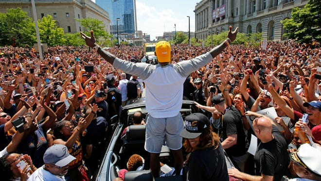 LeBron James celebrates with Cleveland after the Cavaliers won the NBA title in 2016.