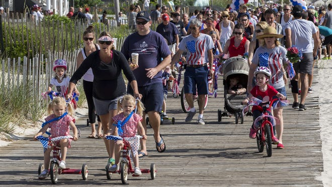Some of the participants in the 2016 Lavallette Patriotic Bike Parade.