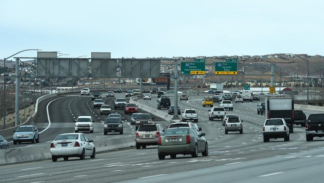 North bound traffic approaches the busy Spaghetti Bowl interchange on Feb. 25, 2015.