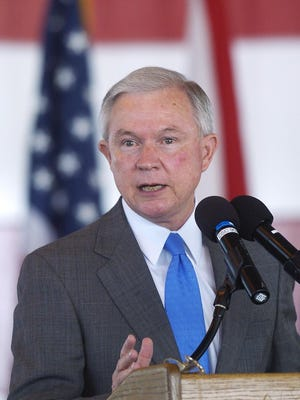 Sen. Jeff Sessions comments during a ceremony at Maxwell Air Force Base on Sept. 13, 2007. Sessions said he believes Trump is popular, especially in Alabama, partly because he refuses to lean on wealthy special interests to help finance his campaign.
