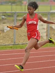Canton's Jada Sabir and her teammates won the 400 relay.