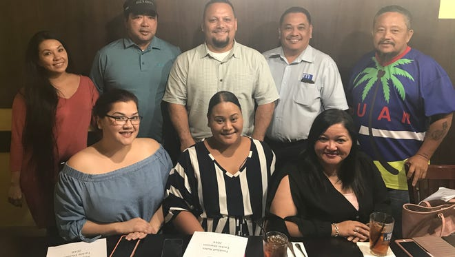 Board members and team presidents of the Guam National Youth Football Federation. Back row, from left to right, Leilani Taijeron, GNYFF Secretary, Ivan Shiroma, GNYFF President, Allen Blend, GNYFF Vice President, Ed Gonzolo, Guam Eagles President, and Paul Blas, Guam Raiders President. Front row, Raquel Sablan, representing the Guam Giants, Annette Manibusan, Southside 49ers President, and Elizia Cruz, GNYFF Treasurer and Guam Giants president.