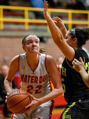 Mater Dei's Jossie Hudson looks to shoot over North's