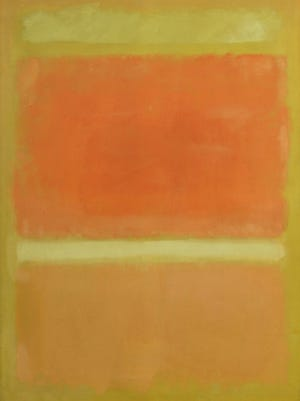 "This undated photo provided by Sotheby's shows a 1955 painting by Mark Rothko,  ""Untitled (Yellow, Orange, Yellow, Light Orange),"" from the estate of Rachel ""Bunny"" Mellon, a noted horticulturist, philanthropist and Listerine fortune heir."