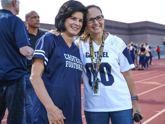 Casteel Principal Sandy Lundberg (right) with Camille