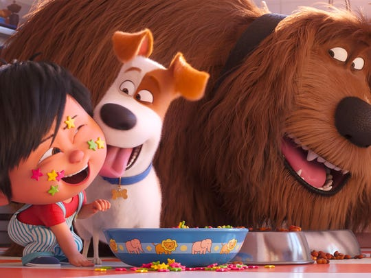 "From left, Liam, voiced by Henry Lynch, from left, Max, voiced by Patton Oswalt, and Duke, voiced by Eric Stonestreet, star in ""The Secret Life of Pets 2."" The movie is playing at Regal West Manchester, Frank Theatres Queensgate Stadium 13 and R/C Hanover Movies."