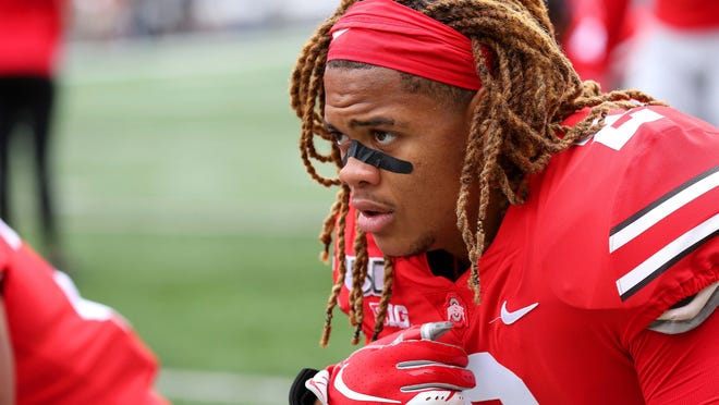 Aug 31, 2019; Columbus, OH, USA; Ohio State Buckeyes defensive end Chase Young (2) before the game against the Florida Atlantic Owls at Ohio Stadium. Mandatory Credit: Joe Maiorana-USA TODAY Sports