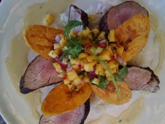 TDS NBR WV Food 0612 - jerk rubbed pork tenderloin, plaintain chips