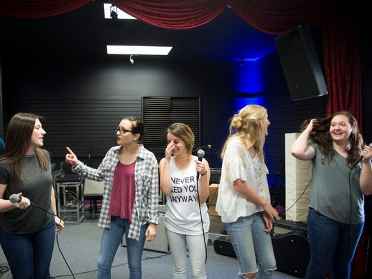 From left, Kendall Condra, Lauran Wright, Wren Gibbons, Georgia Neubert, and Briann O'Dell at rehearsal for CTE Goes Live at Stellar Vision and Sound on Tuesday, May 2, 2017.
