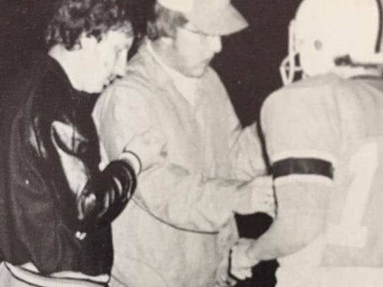 Ron Ball, center, was coach of the 1975 Chilhowie team