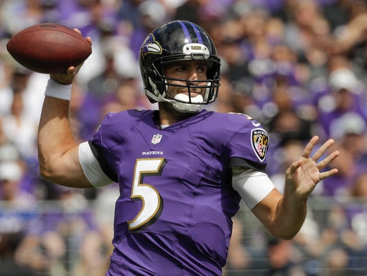 FILE- In this Sunday, Sept. 11, 2016, file phot, Baltimore Ravens quarterback Joe Flacco throws a pass during the first half of an NFL football game against the Buffalo Bills in Baltimore. Back from a knee injury that cost him most of last season, Flacco will have his first encounter this week with the budding, baby Browns, who have 17 rookies on their roster and are in the early stages of a massive makeover.  (AP Photo/Patrick Semansky, File)