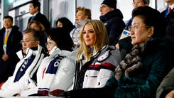 (From L) South Korean President Moon Jae-in, first lady Kim Jung-sook, US President's daughter and senior White House adviser Ivanka Trump and Chinese Vice Premier Liu Yandong attend the closing ceremony of the Pyeongchang 2018 Winter Olympic Games at the Pyeongchang Stadium on February 25, 2018. / AFP PHOTO / POOL / Patrick SemanskyPATRICK SEMANSKY/AFP/Getty Images ORIG FILE ID: AFP_1174L6