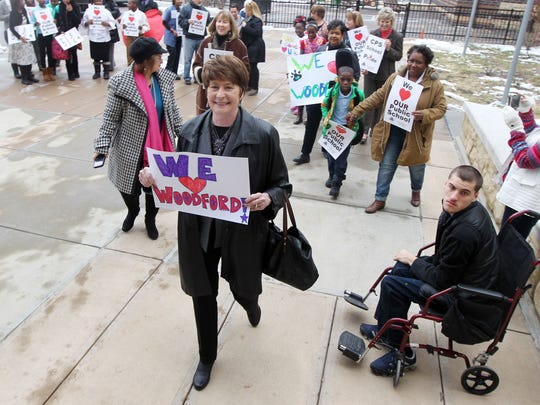 Cincinnati Public Schools superintendent Mary Ronan leads a group of public school supports into Woodfard Paideia, Kennedy Heights, as part of a nationwide Walk in for the Public Schools.  The purpose of the event is to show support for public schools.