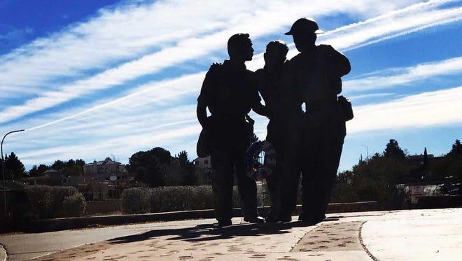 A memorial to Bataan Memorial Death March veterans at Veterans Memorial Park in Las Cruces.
