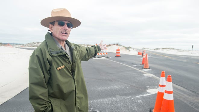 Superintendent Dan Brown discusses the rerouted road at the Fort Pickens National Park.  Wednesday, March 8, 2017.