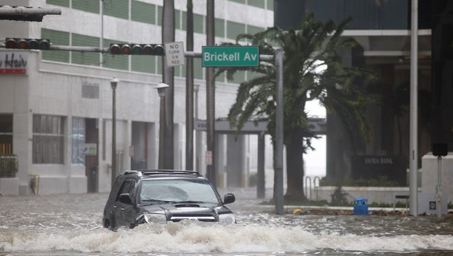 Brickell Avenue in Miami, Fla. was flooded after Hurricane Irma on Sunday, Sept. 10, 2017.