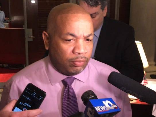 Assembly Speaker Carl Heastie speaks to reporters about