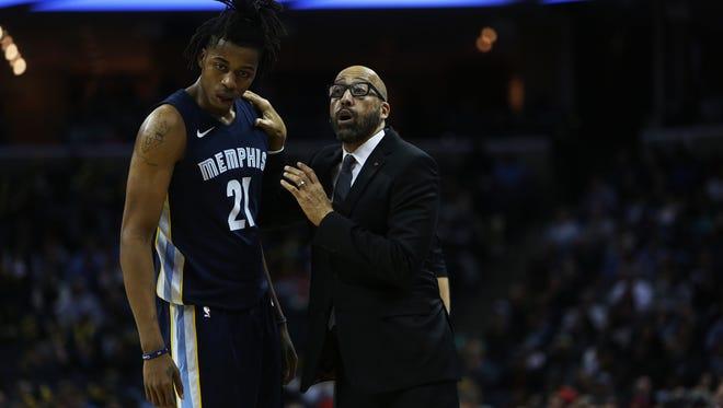 November 20, 2017 - Memphis Grizzlies center Deyonta Davis (21) with head coach David Fizdale in the fourth period against the Portland Trailblazers at FedExForum on Monday.