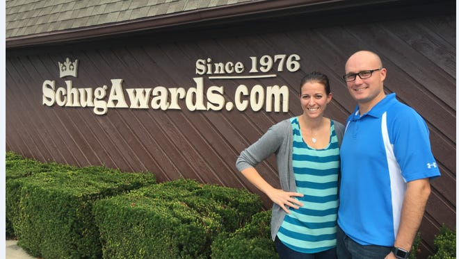 Jennifer and Aron Thompson outside Schug Awards at  2229 S. 30th St. in Lafayette.