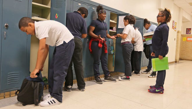 Students at Elbert-Palmer Elementary School in the Christina School District use lockers between classes. The district recently named Noreen LaSorsa, who was the principal of Christiana High School, assistant superintendent for instruction.
