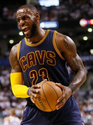 LeBron James reacts during Game 3 of the second round of the 2017 NBA Playoffs against the Toronto Raptors.