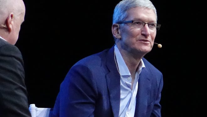 Apple CEO Tim Cook speaks at The Wall Street Journal's WSJ.D Live conference in Laguna Beach, Calif.