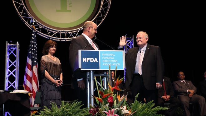 Bob Arrington, founder of Arrington Funeral Directors was installed as president of the National Funeral Directors Association in Indianapolis in October.
