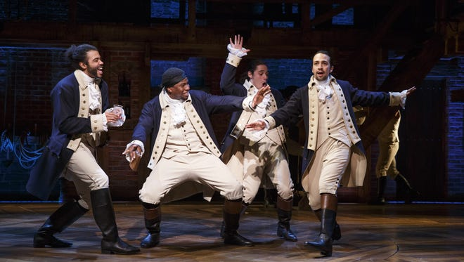 "Daveed Diggs (left to right), Okieriete Onaodowan, Anthony Ramos and Lin-Manuel Miranda in ""Hamilton."" Daveed Diggs (left to right), Okieriete Onaodowan, Anthony Ramon and Lin-Manuel Miranda in ""Hamilton."""