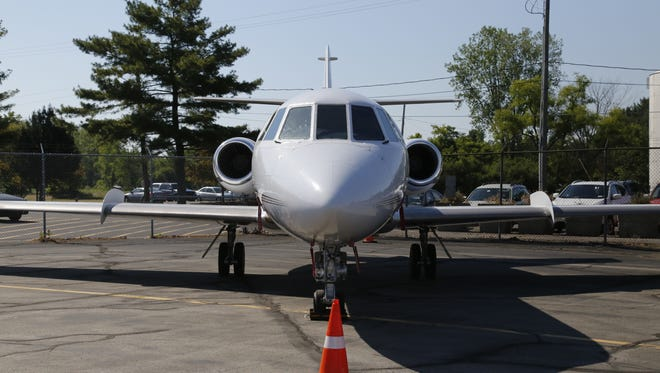 A small commuter jet on display at Airport Day at the Ithaca Tompkins Regional Airport on June 19.