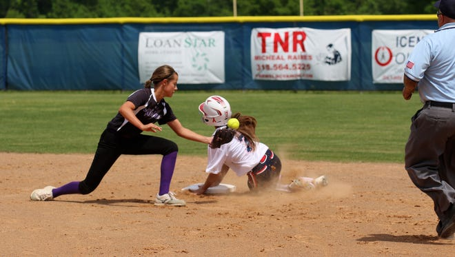 North DeSoto's Draydin Ferguson, pinch running for Taylor Christian, slides into second against Rayne Friday afternoon.