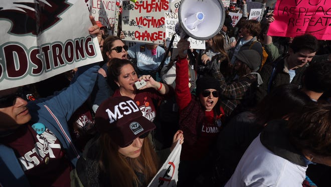 Students and adults with Marjory Stoneman Douglas High School attend the March for Our Lives in Washington, D.C. on Saturday, March 24, 2018.