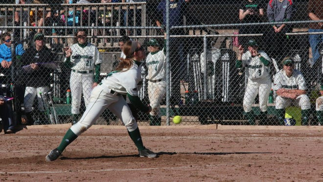 Former Laconia standout Kayla Schwebke is the leader of the UW-Green Bay pitching staff in her freshman season.