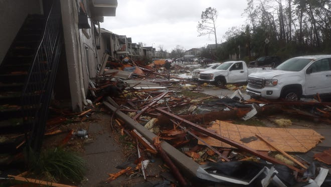Heavy damage caused by Hurricane Michael in Panama City, Fla., Wednesday, Oct. 10, 2018. (Via OlyDrop)