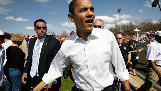 2008 Presidential candidate Barack Obama greets fans at the Little 500 bicycle race on Friday at Bill Armstrong Stadium in Bloomington, In.  Obama made unannounced visits to the Little 500 and Nicks English Hut.