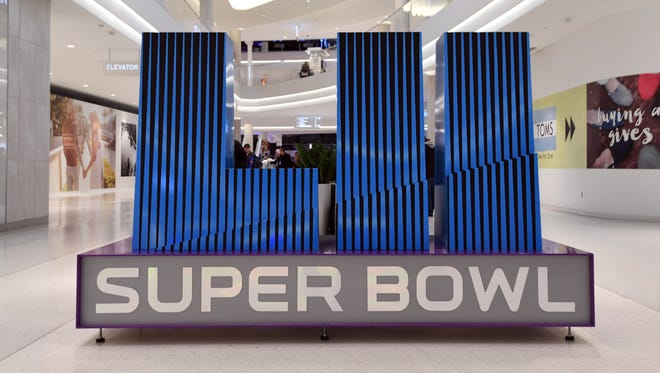 General overall view of Super Bowl LII letters at the  Mall of America.