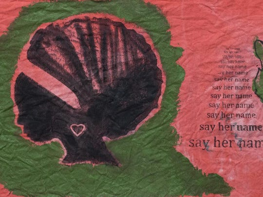 """""""Keep Saying Her Name"""" by Blanche Brown, part of her exhibit, """"Say Her Name,"""" in February at Unitarian Universalist Gallery."""