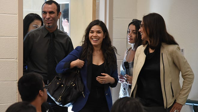February 2016: Actress America Ferrera, center, and Voto Latino President and CEO Maria Teresa Kumar, right, arrive at Rancho High School in North Las Vegas to speak with students about the importance of young voters, including Latinos, participating in the civic process.