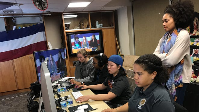 Mary Baldwin University students work on an election night broadcast on Nov. 8, 2016.