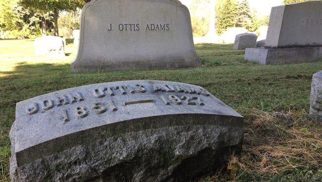 The final resting place of Hoosier artist J. Ottis Adams at Beech Grove Cemetery.