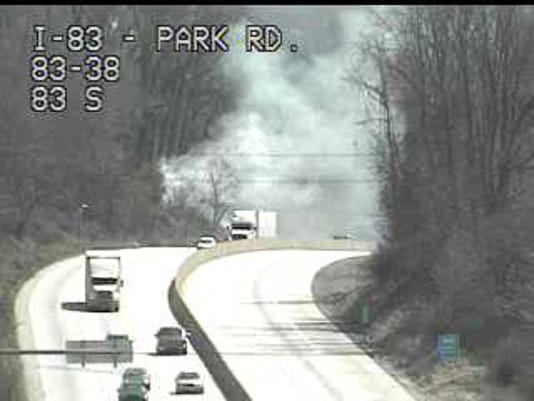 This PennDOT photo captured the scene of one of several brush fires that sent smoke billowing over Interstate 83 near Fishing Creek last Monday. Spring is a season for more brush fires.